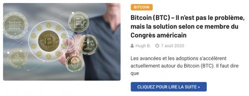 Le Bitcoin n'est pas le problème mais la solution