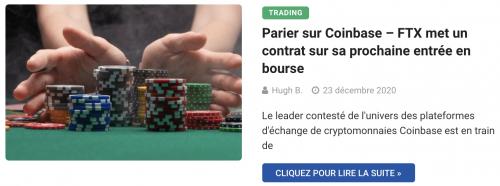 Parier sur Coinbase – FTX met un contrat sur sa prochaine entrée en bourse