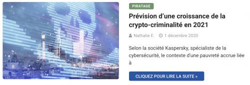 Prévision d'une croissance de la crypto-criminalité en 2021