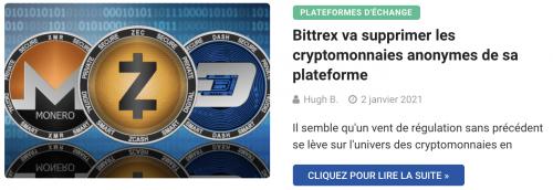 Bittrex va supprimer les cryptomonnaies anonymes de sa plateforme