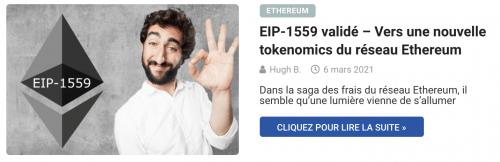 EIP-1559 validé – Vers une nouvelle tokenomics du réseau Ethereum