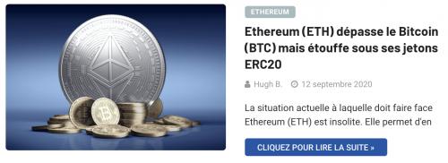Ethereum dépasse le Bitcoin