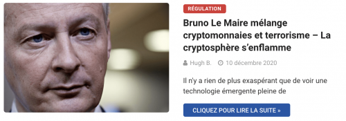 Bruno Le Maire mélange cryptomonnaies et terrorisme – La cryptosphère s'enflamme