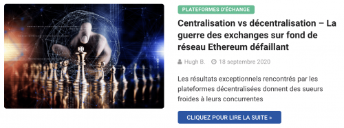 Centralisation vs décentralisation – La guerre des exchanges sur fond de réseau Ethereum défaillant