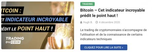 Bitcoin – Cet indicateur incroyable prédit le point haut !
