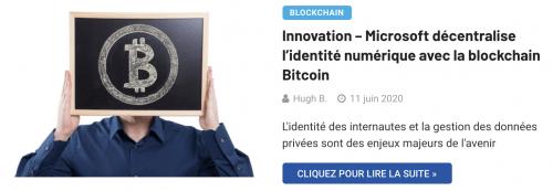 Microsoft décentralise l'identité numérique Bitcoin
