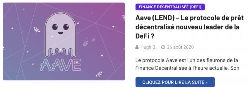 Aave protocole de prêt de la DeFi LEND