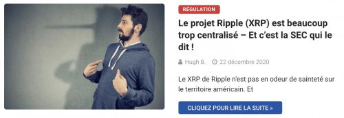 Le projet Ripple (XRP) est beaucoup trop centralisé – Et c'est la SEC qui le dit !