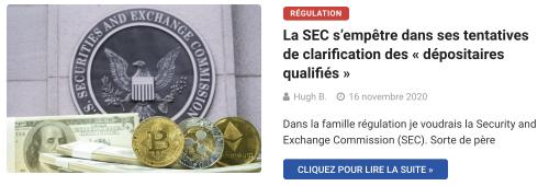 La SEC s'empêtre dans ses tentatives de clarification des « dépositaires qualifiés »
