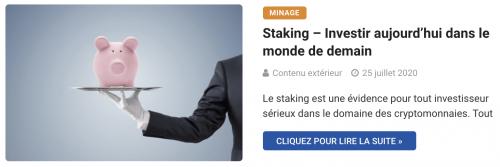 Staking – Investir aujourd'hui dans le monde de demain