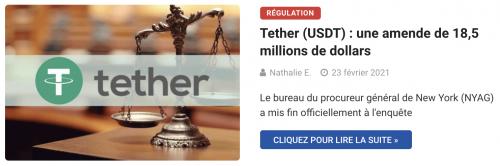 Tether (USDT) : une amende de 18,5 millions de dollars