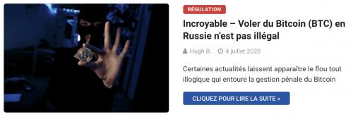 Voler des Bitcoin en Russie n'est pas illégal