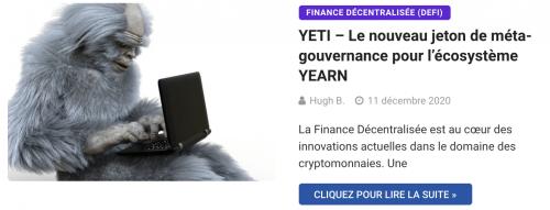 YETI – Le nouveau jeton de méta-gouvernance pour l'écosystème YEARN