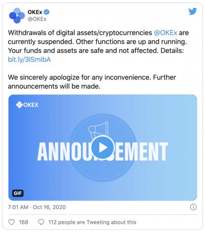 La plateforme OKEx perd l'accès à ses clés privées