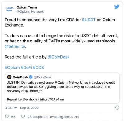 Opium lance un contrat de défaillance sur le Tether USDT