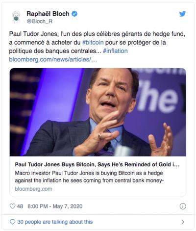 Paul Tudor achète du Bitcoin contre l'inflation