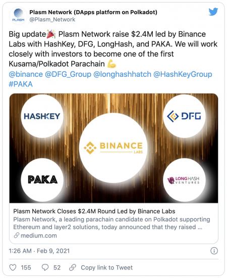 Binance investit 2,4 M$ dans le projet Plasm Network du réseau Polkadot