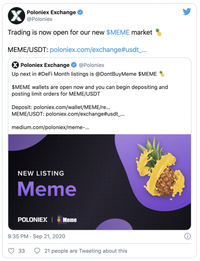 Le jeton MEME explose après son listing sur la plateforme Poloniex