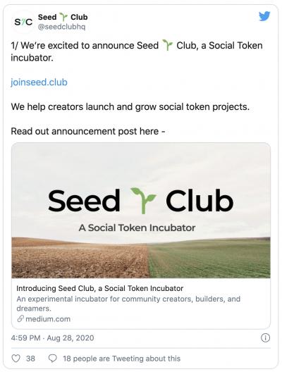 Le projet Seed Club de jetons sociaux