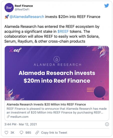 Partenariat entre la plateforme FTX et le projet REEF Finance