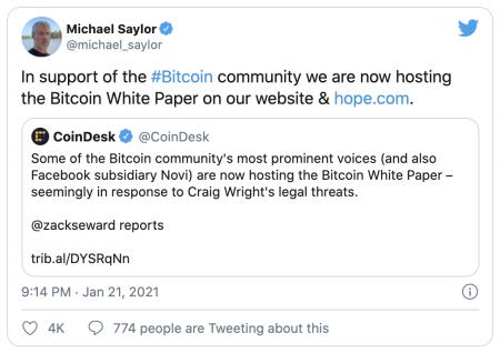 Michael Saylor va héberger le white paper du Bitcoin