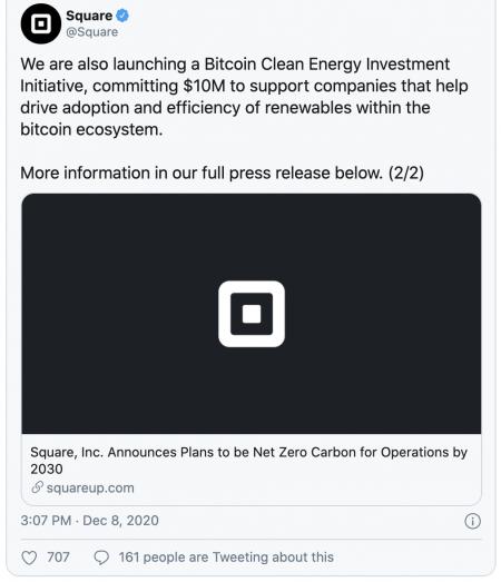 Square investit dans un Bitcoin éco-responsable