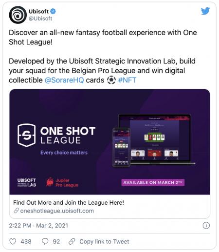 Ubisoft lance le jeu de foot crypto One Shot League