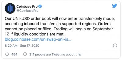 Le jeton UNI d'Uniswap sur Coinbase Pro