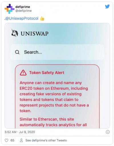 De faux jetons DeFi circulent sur Uniswap
