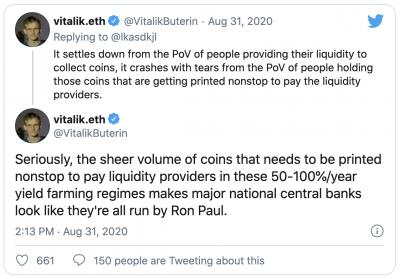 Vitalik Buterin critique la tokenomics de la DeFi