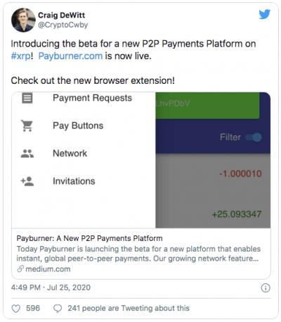 XRP développe un système de paiement en P2P PayBurner
